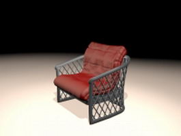 Antique upholstered metal chair 3d preview