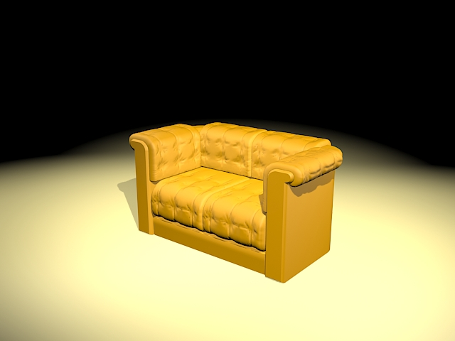 Yellow loveseat 3d rendering