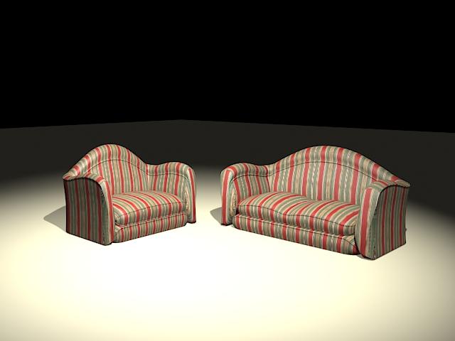 Striped sofa set 3d rendering