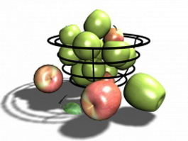 Basket with apples 3d preview