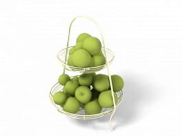 Green plums in basket 3d preview