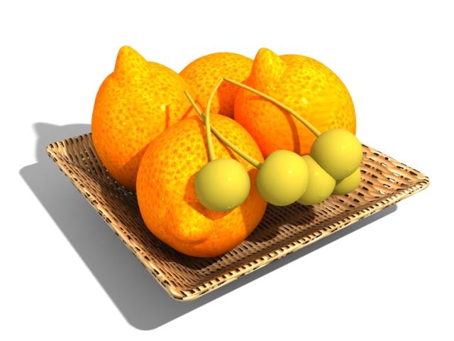 Orange fruit basket 3d rendering