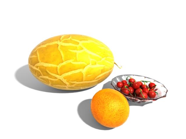 Fruit combos 3d rendering
