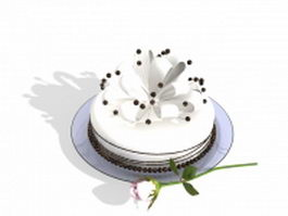 Cake with rose 3d preview