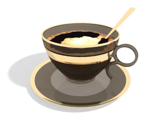 Hot coffee cup 3d rendering