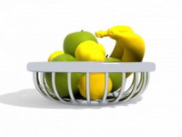 Fruits in metal basket 3d preview