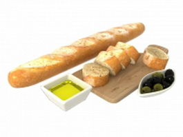 French bread breakfast 3d preview