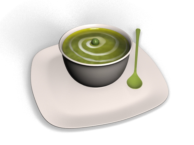 Bowl of soup 3d rendering