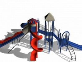 Amusement park slide system 3d preview