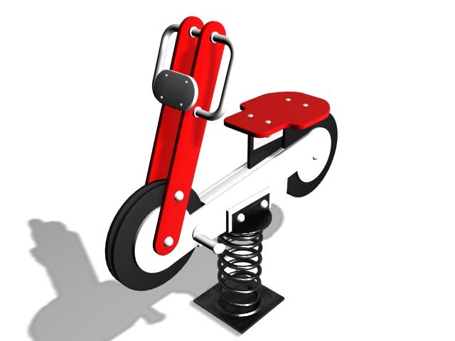 Motorcycle spring rider 3d rendering