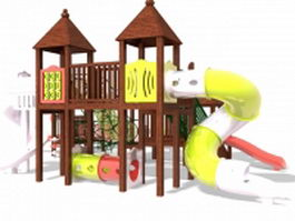 Wooden toddler outdoor play equipment 3d model preview