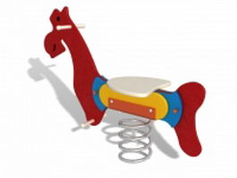 Horse spring rider 3d model preview