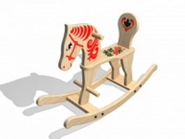 Solid wood rocking horse 3d preview