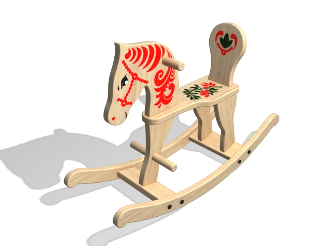 Solid wood rocking horse 3d rendering