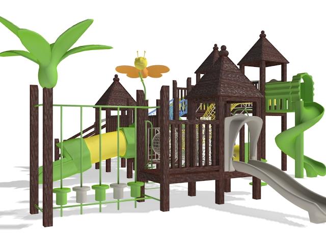 Backyard playset 3d rendering