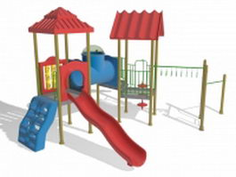 Playset with wonkey bars slides 3d preview