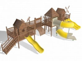Outdoor playhouse with slides 3d model preview