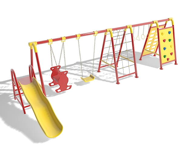 Outdoor swing sets playsets 3d rendering