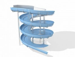 Two spiral slide play system 3d model preview