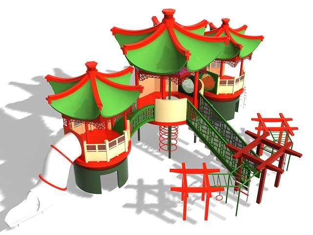 Outdoor castle playset 3d rendering