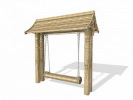 Vintage wooden swing 3d preview