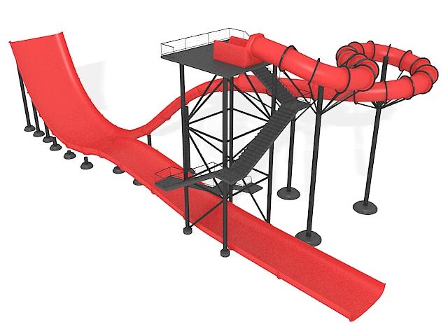 Water park slides 3d rendering