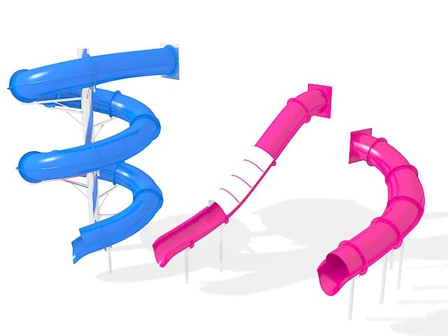 Tube slides for playgrounds 3d rendering