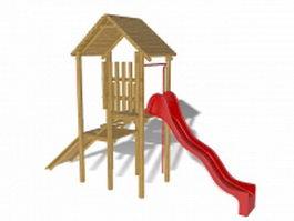 Backyard playground slide 3d model preview