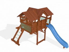 Outdoor playhouse with slide 3d model preview