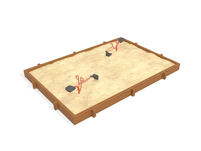 Sandpit with toy tools 3d rendering