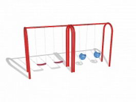 Playground swing set 3d model preview