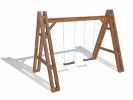 Wooden swing set 3d preview
