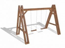 Wooden swing set 3d model preview