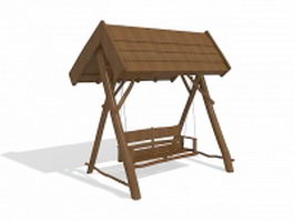 Wooden canopy swing 3d preview