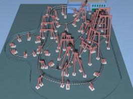 Amusement park roller coaster 3d model preview