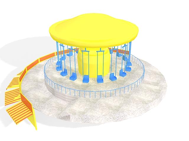 Flying scooter amusement park 3d rendering