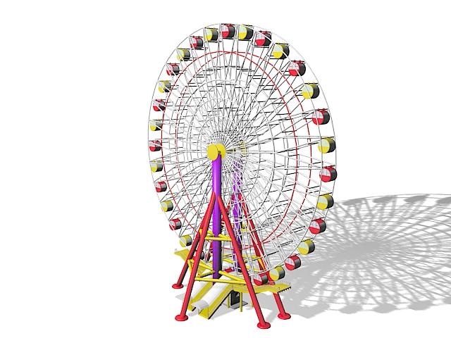 Amusement park big wheel 3d rendering