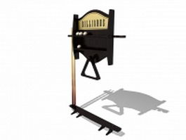 Pool cue rack and stand 3d model preview