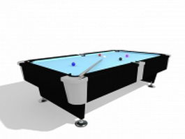 Billiard table with pool balls 3d model preview