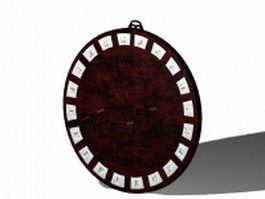Vintage wood dart board 3d preview