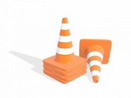 Orange traffic cones 3d preview