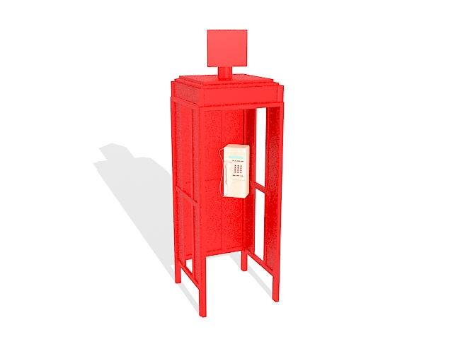Red telephone box 3d rendering