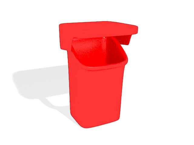 Red plastic bin 3d rendering