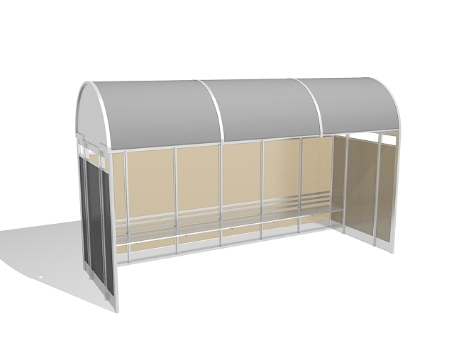 Bus stop shelters 3d rendering
