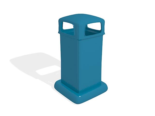Blue waste bin 3d rendering