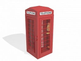 Red telephone booth 3d preview