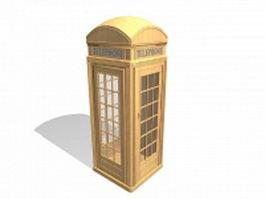 Vintage wooden telephone kiosk 3d preview