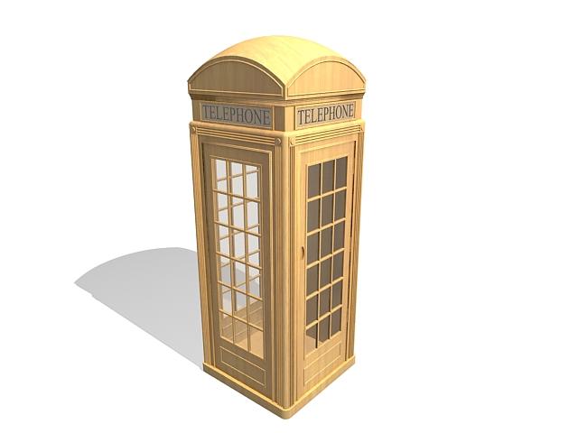 Vintage wooden telephone kiosk 3d rendering