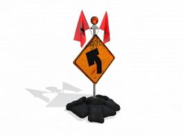 Road construction sign safety equipment 3d preview