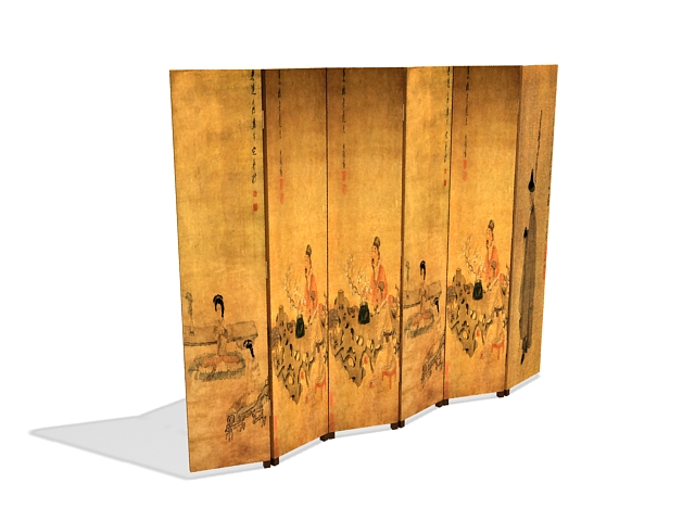 Antique Chinese folding screen 3d rendering